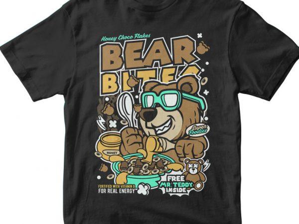 Bear Bites vector t-shirt design template