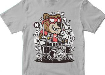 Bear Drummer buy t shirt design for commercial use
