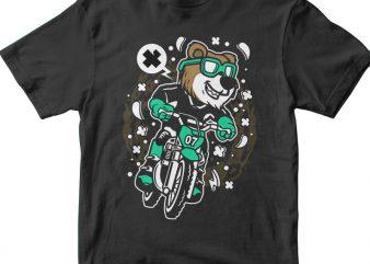 Bear Motocross Rider t shirt template