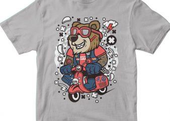 Bear Scooterist t shirt template
