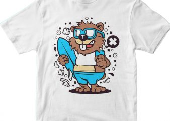 Beaver Surfing tshirt design for sale