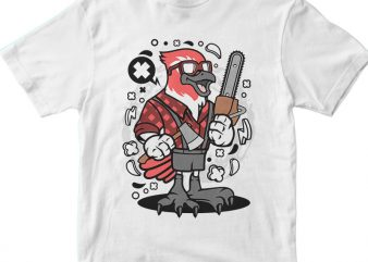 Bird Lumberjack vector t shirt design for download