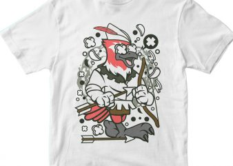 Bird Robin Hood print ready vector t shirt design