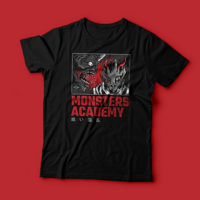 Monster Academy T-Shirt Design Template t shirt design graphic