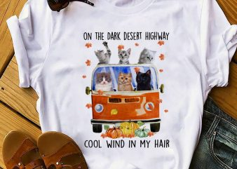 CAT COOL WIND IN MY HAIR t shirt design for download