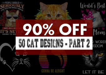 Super Cool Cat Bundle – Part 2 – 90% OFF t shirt template vector