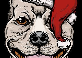 Christmas Pitbull t shirt design for sale