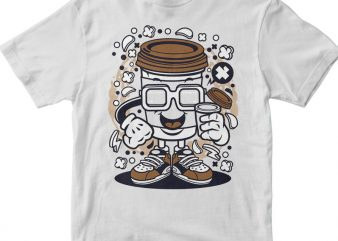 Coffee Cup vector t shirt design for download