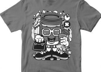 Coffee Cup Businessman tshirt design for sale