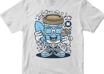 Coffee Cup Surfer t shirt vector file