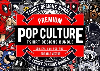 76 Pop Culture Tshirt Designs Bundle