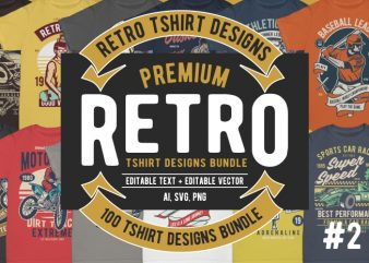 100 Retro Tshirt Designs Bundle #2