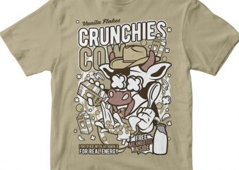 Crunchies Cow t shirt vector file