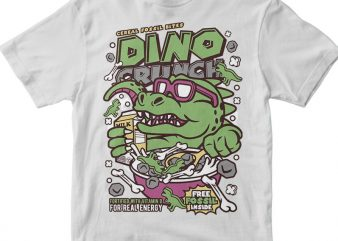 Dino Crunch commercial use t-shirt design