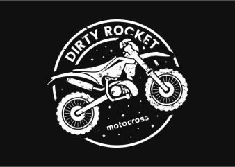Dirty Rocket Motocross t shirt vector illustration