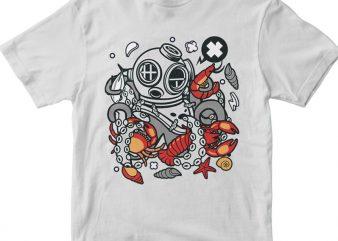 Diver Octopus tshirt design vector