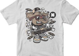 Dj Elephant design for t shirt
