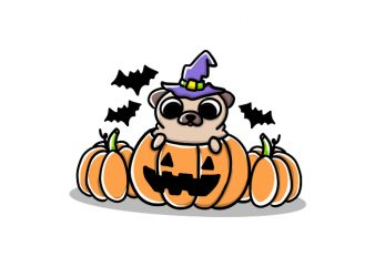 Dog pup puppy halloween witch scary funny cute doodle vector t shirt design