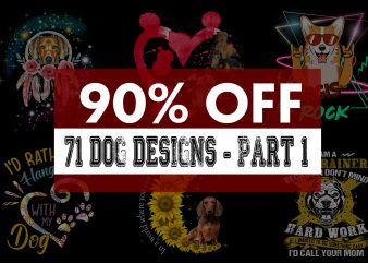 Super cool dog bundle – part 1 – 71 Designs – 90% off