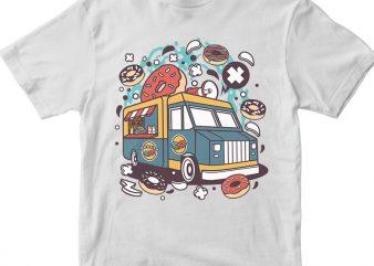 Donut Van t shirt vector illustration