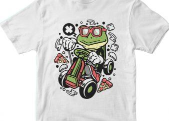 Frog Gokart Racer t shirt graphic design