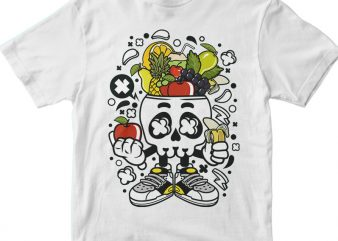Fruit Skull Head t shirt graphic design