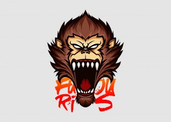 Furious Ape Vector T-shirt Design