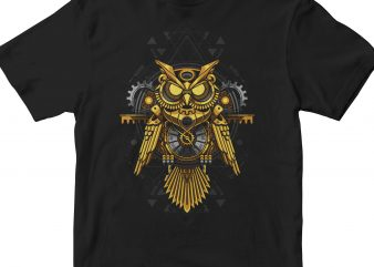 GOLDEN OWL GEOMETRIC t shirt design template