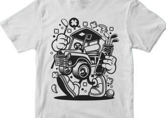 Golf Car t shirt design template