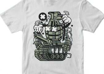 Grenade War Tank print ready vector t shirt design