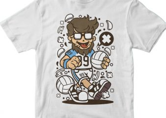 Hipster Volley Ball Player graphic t shirt