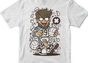 Hipster Volley Ball Player vector t shirt design artwork