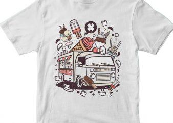 Ice Cream Van vector t shirt design for download