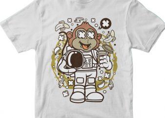 Monkey Astronaut t shirt designs for sale