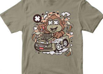 Monkey Hotrod t shirt designs for sale