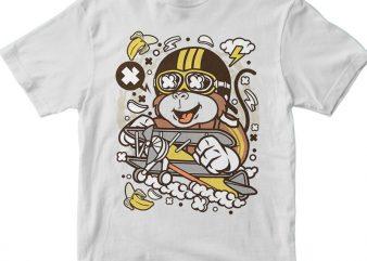 Monkey Pilot vector t shirt design artwork