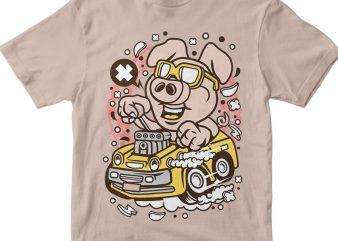 Oink Hotrod commercial use t-shirt design