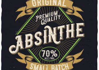 Absinthe Label. Editable vector t-shirt design.