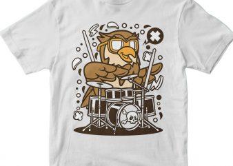 Owl Drummer buy t shirt design