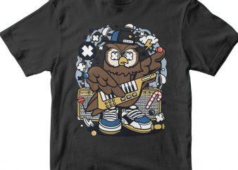 Owl Pop Star tshirt design vector