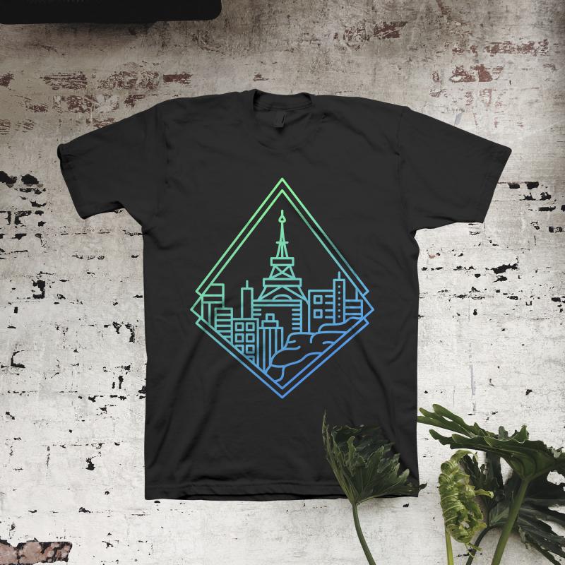 Paris City Line t-shirt designs for merch by amazon