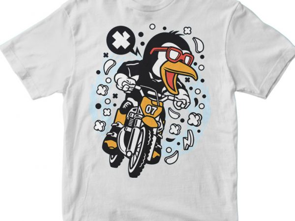 Penguin Motocross Rider t shirt design png