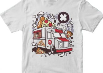 Pizza Van vector t-shirt design for commercial use