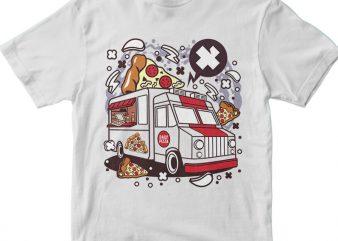 Pizza Van t shirt illustration