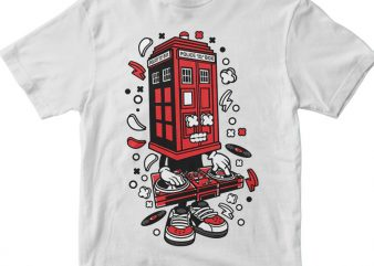 Police Box DJ t shirt illustration