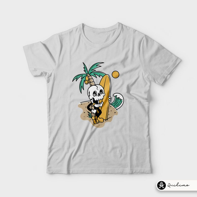 Skull Ready to Surf tshirt design for sale