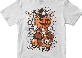 Pumpkin Scooter t shirt illustration