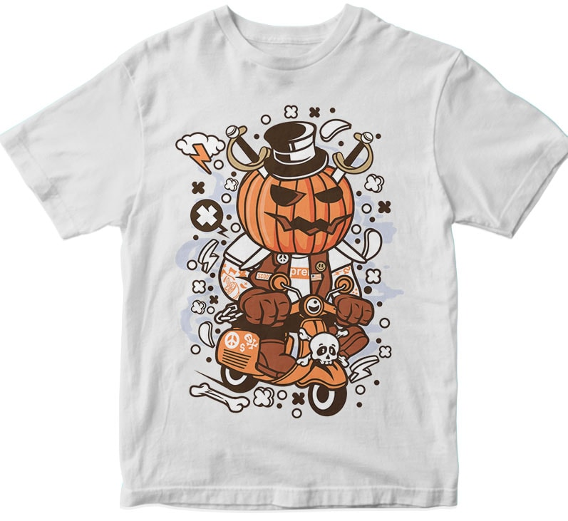 Pumpkin Scooter tshirt design for merch by amazon