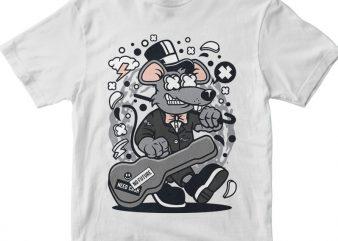 Rat Guitar vector t shirt design artwork