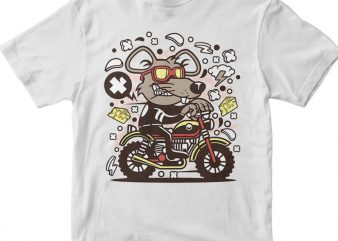 Rat Motocrosser print ready vector t shirt design